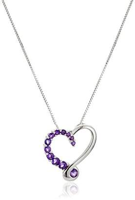 Sterling Silver Graduating Amethyst Heart Pendant Necklace