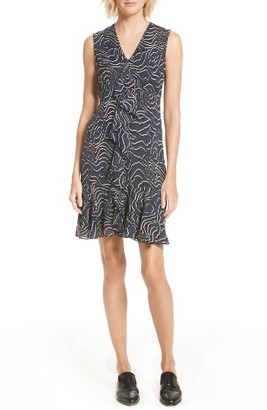 Women's Derek Lam 10 Crosby Ruffle Print Silk Dress $495 thestylecure.com