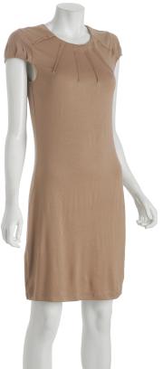 Design History light brown jersey pleated crewneck dress