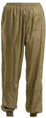 Katharine Hamnett Archive High Rise Elasticated Silk Trousers - Womens - Khaki