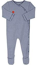 Lisa Perry Infants' Dot-Embroidered Striped Cotton Footed Coverall - Blue