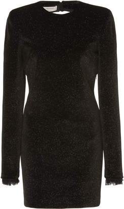 Philosophy di Lorenzo Serafini Glittered Lace-Trimmed Velvet Mini Dress