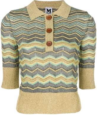M Missoni lamé zig-zag polo shirt