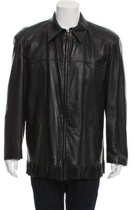 Michael Kors Fringe-Trimmed Leather Jacket