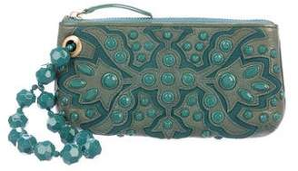 Isabella Fiore Embellished Leather Wristlet