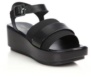 Robert Clergerie Leather & Elastic Platform Sandals $450 thestylecure.com