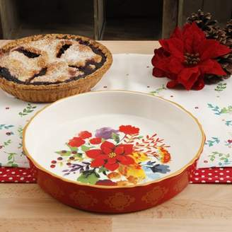 The Pioneer Woman Winter Bouquet 10-Inch Pie Pan, Red Baking Dish