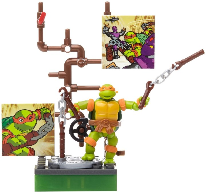 Mega Bloks Teenage Mutant Ninja Turtles Collectors 1987 Classic Michaelangelo Figure Action Figure