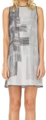Max Studio Printed Mesh Silk Chiffon Shift Dress