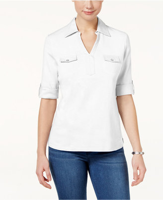 Karen Scott Cotton Utility Polo Top, Created for Macy's $29.50 thestylecure.com