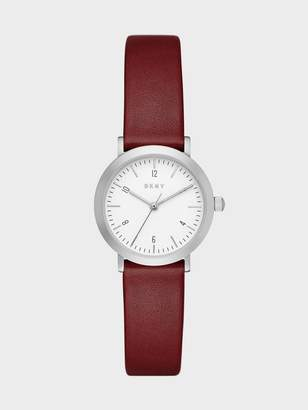 Donna Karan Donnakaran Minetta Stainless-Steel And Lacquer Leather Three-Hand Watch Burgundy/Grey N/S