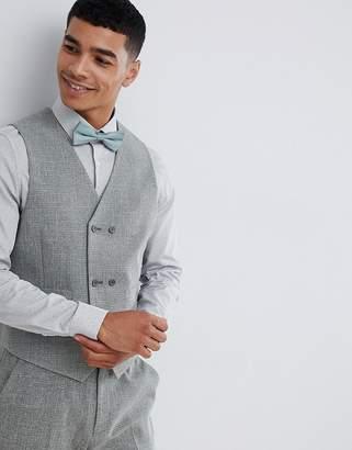 Hatch ASOS DESIGN wedding skinny suit vest in khaki cross
