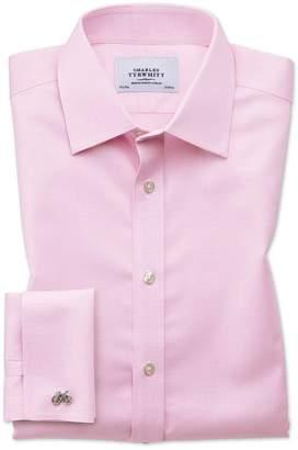 Charles Tyrwhitt Slim Fit Non-Iron Puppytooth Light Pink Cotton Dress Shirt Single Cuff Size 17/34