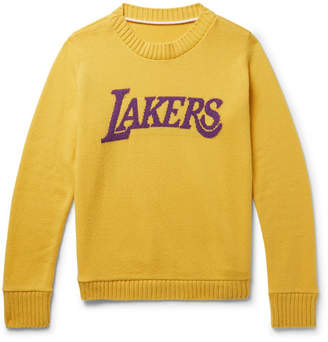 The Elder Statesman + Nba Los Angeles Lakers Intarsia Cashmere Sweater