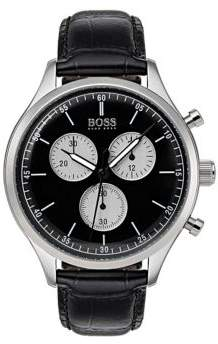 HUGO BOSS Companion Stainless Steel Leather-Strap Watch