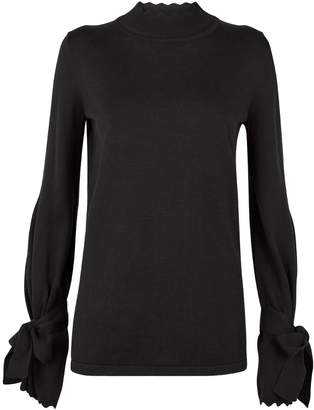 Mother of Pearl Iris Scalloped Trim Sweater