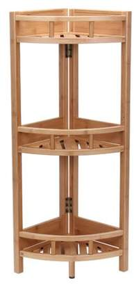Household Essentials Bamboo Slatted Corner Unit Bookcase