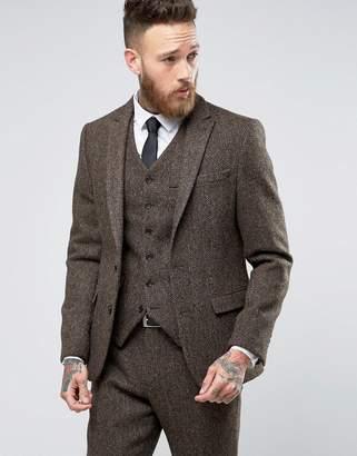 ASOS Slim Suit Jacket in Brown Harris Tweed Herringbone 100% Wool $188 thestylecure.com
