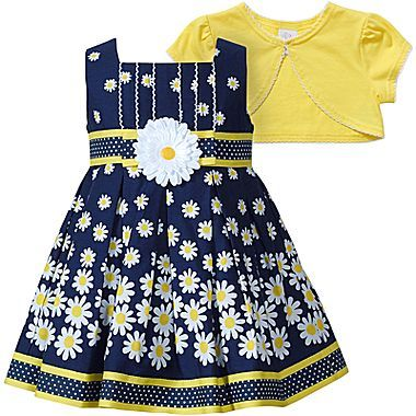 Youngland Daisy Dress w/ Shrug - Girls 12m-24m