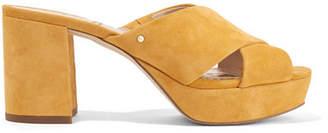 Sam Edelman Jayne Suede Platform Mules - Mustard