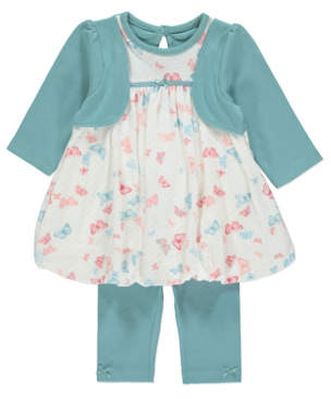 George Printed Puffball Dress and Leggings Outfit