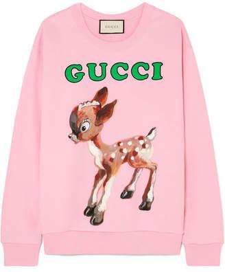 Gucci Printed Cotton-jersey Sweatshirt - Pink