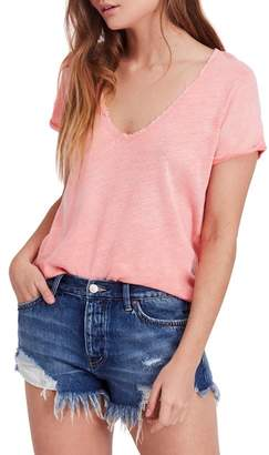 Free People We the Free by Saturday Lace Trim Linen Blend Tee