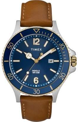 Timex Men's Harborside Tan/Blue Watch, Leather Strap
