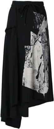 Yohji Yamamoto printed asymmetric midi track skirt