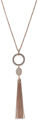 INC International Concepts I.N.C. Rose Gold-Tone Pavé Circle Pendant Tassel Necklace, Created for Macy's