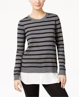 G.H. Bass & Co. Striped Layered-Look Sweater $79 thestylecure.com