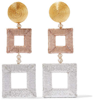 Beaded Silk Clip Earrings - Gold