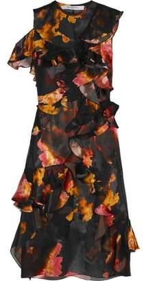 Givenchy Ruffled Printed Devoré Satin And Silk-Chiffon Dress