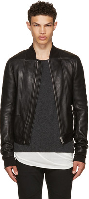 Rick Owens Black Leather Geo Harness Bomber Jacket $2,920 thestylecure.com