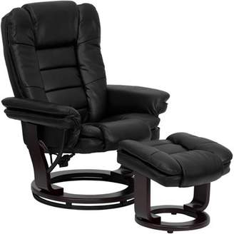 Flash Furniture Contemporary Leather Recliner and Ottoman with Swiveling Wood Base, Multiple Colors