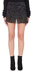 Saint Laurent Women's Polka Dot Gathered Miniskirt - Black