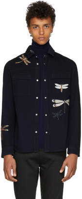 Valentino Blue Dragon Fly Shirt Jacket