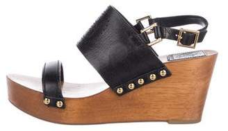 Tory Burch Leather Open-Toe Wedges