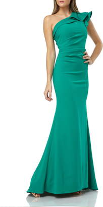 Carmen Marc Valvo One-Shoulder Gown