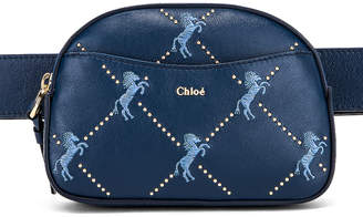 Chloé Signature Embroidered Leather Belt Bag in Eclipse Blue | FWRD