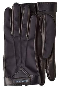 Prada Nylon And Nappa Leather Gloves