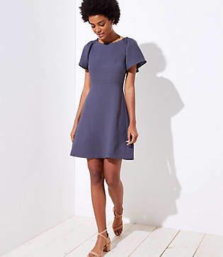 LOFT Petite Smocked Flare Sleeve Dress