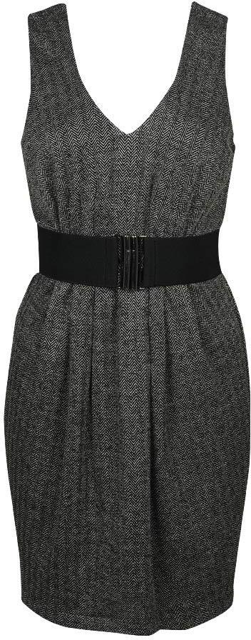 Belted Chevron Pattern Dress