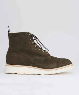 Tricker's Limited Edition Suede Cap Toe Boot in Olive