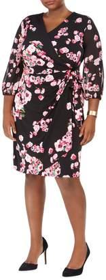 INC International Concepts Plus Printed Sheer-Sleeve Wrap Dress