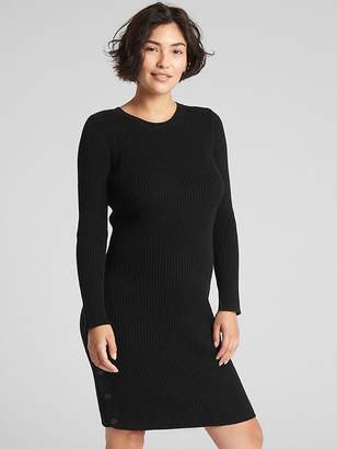 Gap Maternity Long Sleeve Ribbed Sweater Dress with Side Button Detail