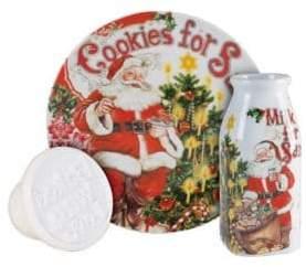 Fitz & Floyd Old World Christmas Milk Cookies Ceramic Three-Piece Cookie Set