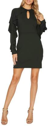 Susana Monaco Ruffle-Sleeve Keyhole Dress