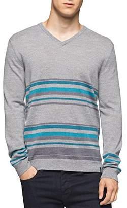Calvin Klein Men's Merino Striped Color Block V-Neck Sweater