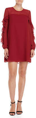 BCBGeneration Ruffled Long Sleeve Shift Dress